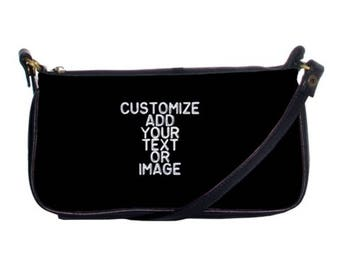 Womens Customize personalized clutch handbag add your own text or photo leather handbag