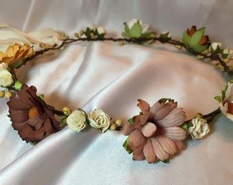 Cream / brown / autumnal flower girl crown, bridesmaid, wedding hair piece, bridal hair accessories, head band, childrens alice band