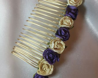 Purple / ivory bridesmaid decorative comb, hair accessories, Bridal hair comb, flower girl, wedding hair comb, flower girl hair piece