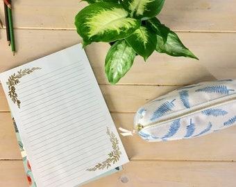 Canvas Pencil Case / Pencil pouch / Botanical Print / Monstera Leaf Print / Fern Leaf Print / Zippered Pouch Canvas / Canvas Pencil Case