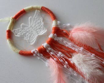Orange Feathered Handmade Dreamcatcher | Home Decoration, Bedroom Wall Art, Baby Nursery Decoration, Sweet Dreams, Kids Bedroom, Hippie,