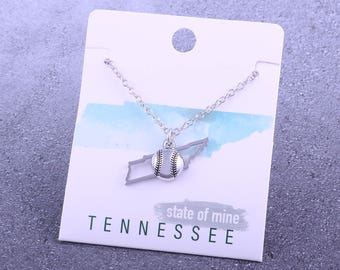 Customizable! State of Mine: Tennessee Baseball Silver Necklace - Great Baseball Mom Gift!