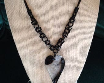 Byzantine Chainmaille Necklace with Black Agate and Quartz Heart Pendant, Chainmaille Jewelry, Heart Necklace, Gifts for her, Unique Jewelry