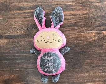 Pink Easter Bunny, Stuffed Easter Bunny, Pink Stuffed Bunny, Girl Stuffed Bunny, Stuffed Bunny, Easter Gift, Easter Basket Gift