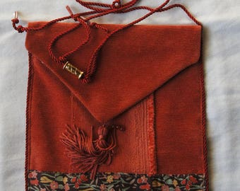 "Small bag in pale orange cotton velvet and liberty fabric Collection ""African sands"":"