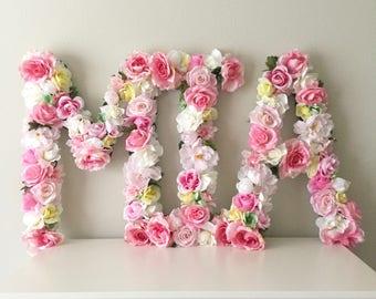 """Custom Floral Letter, 19"""", 24"""", Flower Letter, Baby Shower Letter, Floral Nursery Art, Floral Art, Floral Wall, Girl Nursery, Wood Letter"""