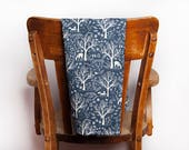 Deer Tea Towel, Blue White, Tea Towel, Deer, Woods, Woodland, Cabin, Winter Decor, Hostess Gift, Vacation Home, Kitchen Gift, New Home Gift