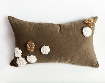 Green Pom Pom Pillow, Green, Pom Pom Pillow, Pom Pom, Corduroy Pillow, Olive Green Pillow, Decorative Pillow, Bedroom Pillow, Earth Tone