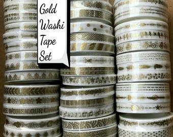 51 rolls Gold Washi Tape Set Basic Slim Washi Tape Thin Washi Deco Tape Feather Cute Washi Tapes Scrapbooking Planner Tape Border Arrow