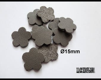 * ¤ 10 flowers in gray - 15mm diameter leather ¤ * #C25