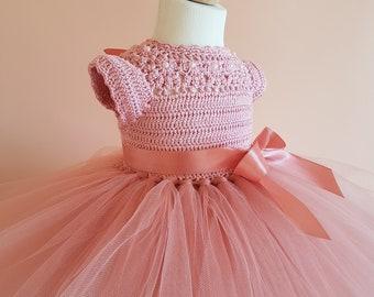 tutu dress, crochet dress, crochet yoke, princess dress, bridesmaid dress, baby dress, toddler dress, baptism dress, flower girl dress