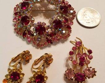 Vintage Florenza Brooch and Earrings