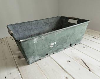 Vintage Zinc Garden Bin WIth Wooden Handles - English Tray