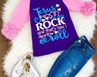 Jesus is my Rock Ruffle Raglan