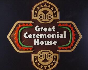 Polynesian Themed Longhouse Sign / Plaque - Great Ceremonial House ( Disney Resort Polynesia / Park Tiki Replica Prop )
