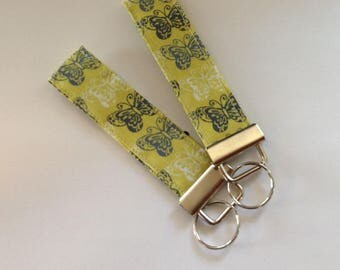 wristlet keychain key fob key ring  fabric keychain women's girls accessories-  butterfly designer fabric