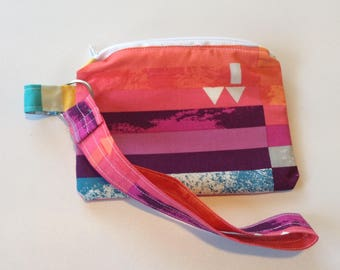 Coin pouch Wristlet keychain Custom wallet change pouch purse insert clutch-  rainbow designer fabric zippered pouch