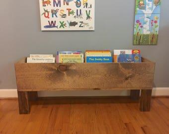 Wood Toy Box Floor Bookshelf Storage Bin Book