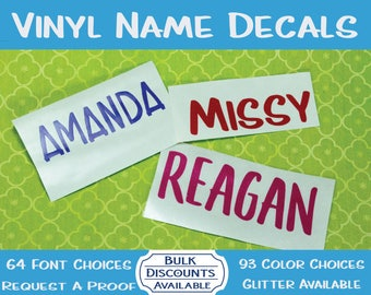 Vinyl Name Decals for Tumblers, Windows, Cups, Mugs & More / Yeti Name Decal / Tumbler Name Decal / Personalized Decal / Color Name Decal