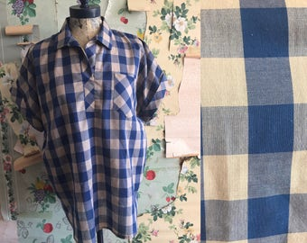Vintage 1960s Cape Cod Match Mates Buffalo Plaid Blue/Grey Pullover Blouse. Medium/Large. Roll sleeve, front pocket, collared.