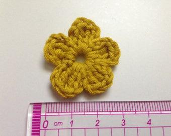 Yellow mustard cotton and crochet flower