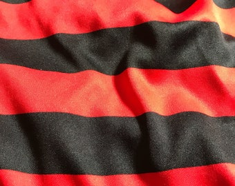 "Red and black wide striped 3 yards of 64"" fabric great for pirate costume"