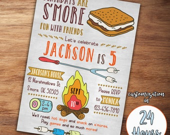 S'more Birthday Invitation, Smore Birthday Invitation, Camping Birthday Invitation, S'mores, Smore Invitation, Boy Birthday, Camping Bonfire