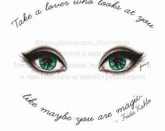 Blue Eyes And Lashes Fashion Illustration Print