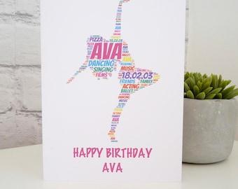 Personalised Dancer Birthday Card , Personalised Dancer Card,  Dancer Card, Personalised Birthday Card