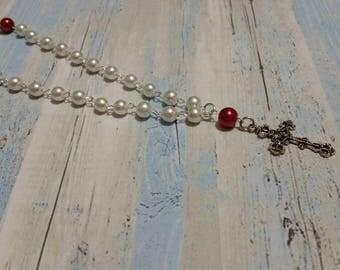Orthodox Chotki, religious, Orthodox prayer beads, white and red glass pearls,  filigree design crucifix, Orthodox Christian