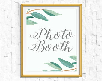Eucalyptus Bohemian Floral Photobooth Wedding Sign | Boho Rustic Greenery Photo Booth Wedding Sign | Greenery Leaf  Printables | EUC1174