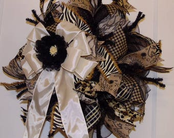 Ivory and black wreath