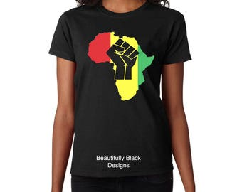 Melanin Women's T Shirt- Personalized/Custom-Black Power Hand In Africa Woman's Topography Design