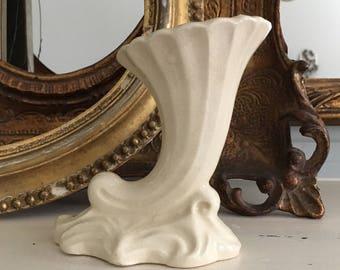 Small Ceramic Cornucopia Horn Bud Vase