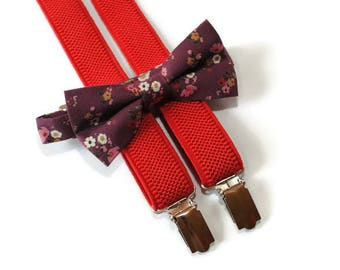 burgundy bow tie & red suspenders maroon floral bowtie for toddler suspenders groomsmen suspenders father suspenders son matching bow ties