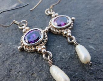 Vintage Amethyst Pearl Sterling Silver Dangle Earrings