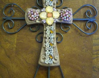 Iron and ceramic jeweled vintage cross wall hanging