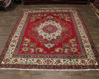 Awe-inspiring Handmade Vintage Tabriz Persian Rug Oriental Area Carpet 10X13
