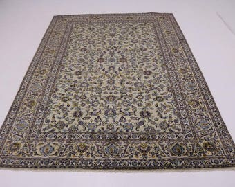 Enchanting Semi Antique Sage Green Kashan Persian Rug Oriental Area Carpet 9X13