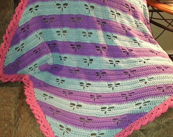 Dragonfly Diagonal Stripes Baby Blanket