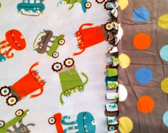 Mean-Monster Rally MashUp! Handmade fleece blanket designed by JAX. A Silly Mean-Monster theme made with extremely soft microfleece fabric!