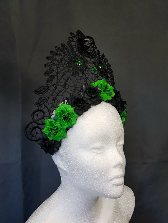 Skull black filigree lace crown kokoshnik with green pearls / stiff pointed Crown with green roses and cabochons