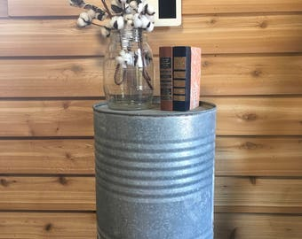 Superior Vintage Galvanized Can Farm Table Garbage Can Planter Barrell Farmhouse  Rustic Metal Decor Country Repurpose Salvaged