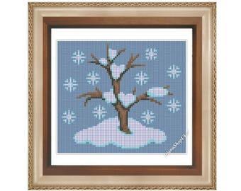Winter - Cross Stitch Pattern PDF Instant download Winter cross stitch pattern Tree Cross Stitch Seasonal Series Wintertime Chart Seasons