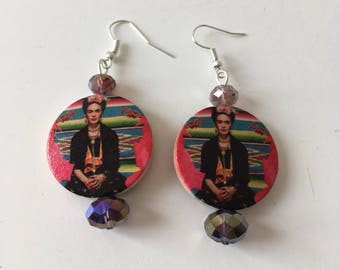 Frida Kahlo earrings, wood earrings with picture of Frida Mexican style