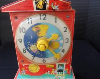 Vintage Fisher Price Music Box Teaching Clock  1546