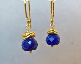 Lapis lazuli drop earrings gold, lapis earrings, Mothers Day Gift for wife, dainty lapis earrings gold, navy blue dangle earrings,