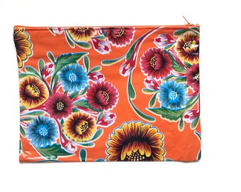 Oil cloth clutch, Oil cloth bag, Oil cloth pouch, Mexican wallet, Wallet cloth, Oil cloth zipper pouch, Zipper cosmetic oil cloth