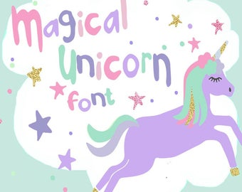 Unicorn font, unicorn svg, hand drawn font, unicorn svg, kids font, SVG, DXF, fun font, girly font, font svg, ice cream svg, sketched font