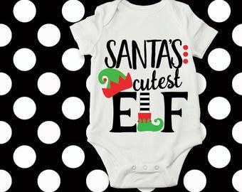 elf svg, santa svg, Elves, baby Christmas outfit, SVG, DXF, EPS, santas cutest elf, kids svg, santa hat svg, elf shirt, elf,  iron on,